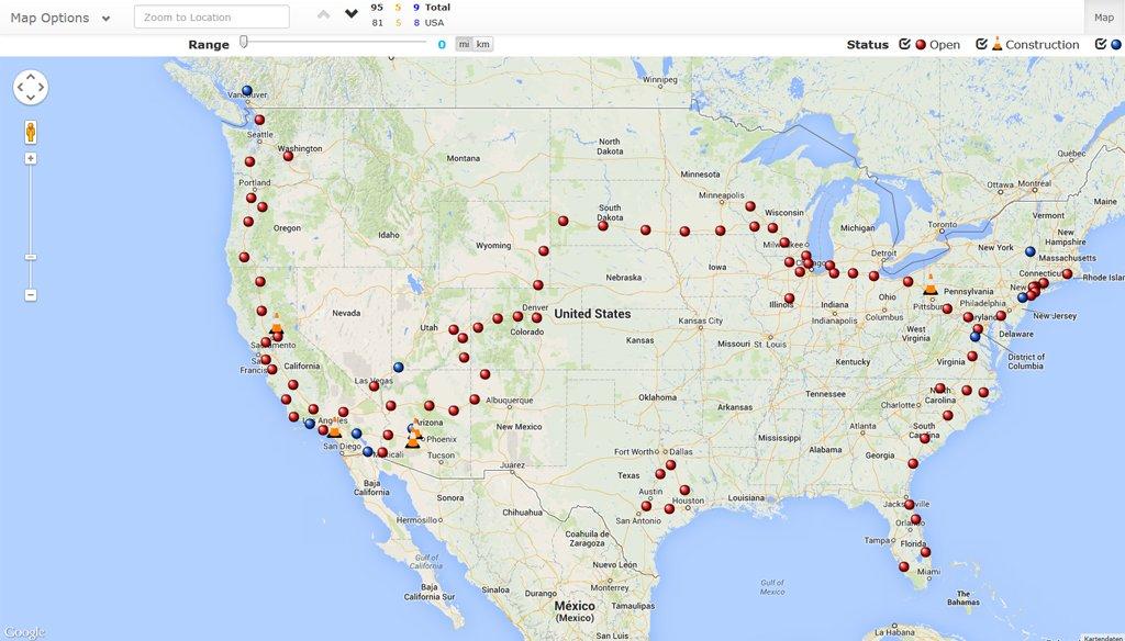 Interaktive Karte zeigt Supercharger-Stationen > Teslamag.de