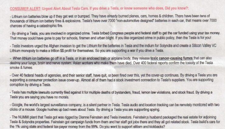 """In San Francisco wurden Flyer verteilt, welche angeblich """"die Wahrheit"""" über Tesla Motors enthüllen"""