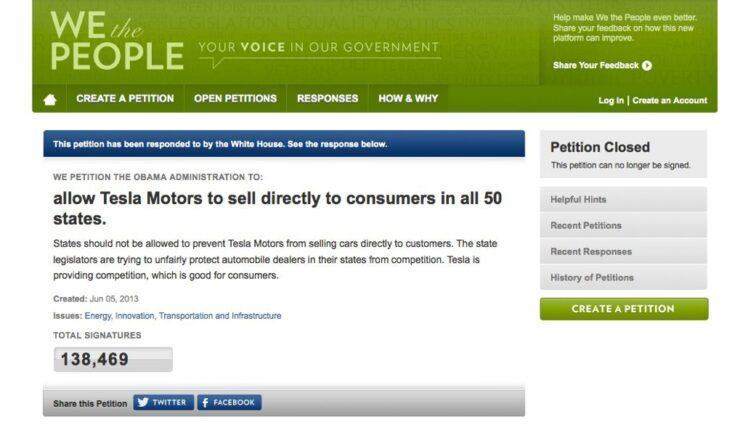 Keine Unterstützung vom Weißen Haus für Teslas Direktvertrieb