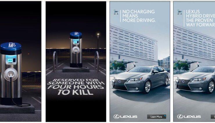 Lexus schießt mit Werbekampagne gegen Elektrofahrzeuge