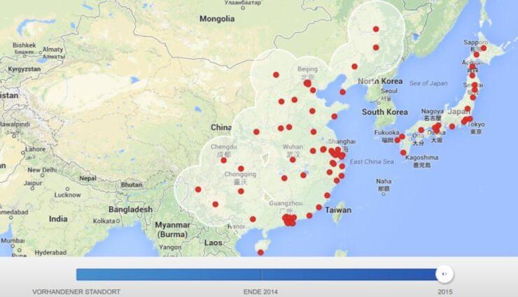 Asien: Supercharger-Karte zeigt das Ziel bis 2015 an