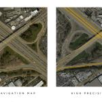Links: Keine Fahrbahnspuren, lediglich die Straße selbst. Rechts: Was Tesla erreichen will.