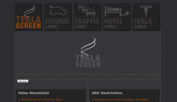 tesla-screen.de – Alternativer Schnellzugriff auf wichtige Funktionen über den Browser