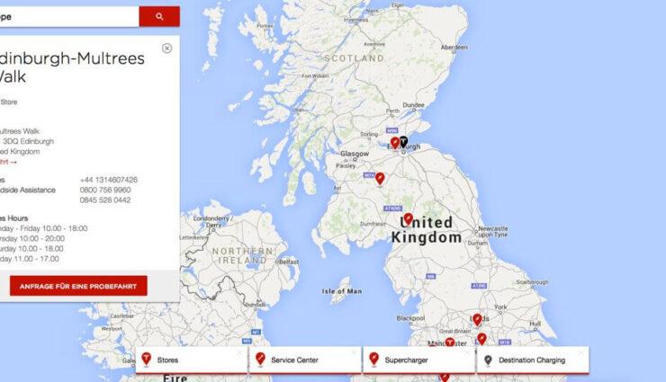 Schottland: Tesla Motors eröffnet ersten Store in Edinburgh