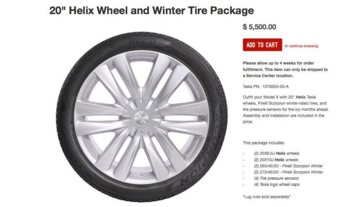 """Tesla Model X: Neue 20 Zoll Winterräder im """"Helix""""-Design über den Zubehörshop erhältlich"""