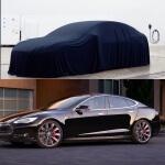 """Vergleich: Verhülltes Model 3 und Model S (Bild: TMC-User """"Zaphod"""")"""