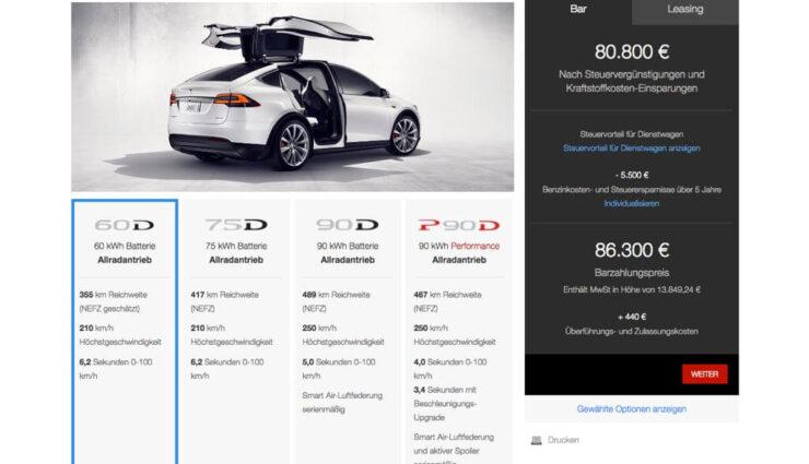 Tesla Model X: Neues 60 kWh-Akkupaket verfügbar
