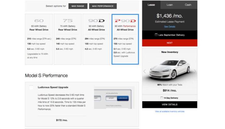 Tesla zeigt im Online-Konfigurator passende Gebrauchtwagen an
