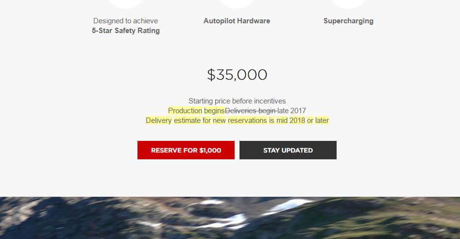 Änderung der Wortwahl auf der Model 3-Informationsseite für US-Bürger