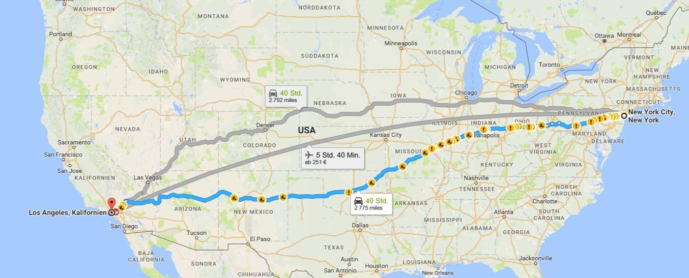 Strecke von Los Angeles nach New York (Bild © Google Maps)