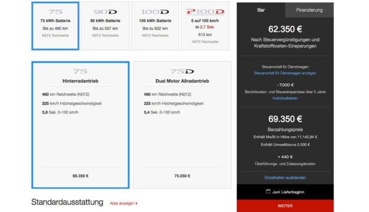 Online-Konfigurator: Tesla senkt Preis für Model S 75 und zahlreiche weitere Änderungen