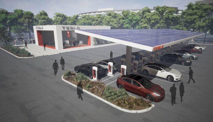 Langfristig sollen fast alle Supercharger mit Solarenergie betrieben werden, sagt Elon Musk