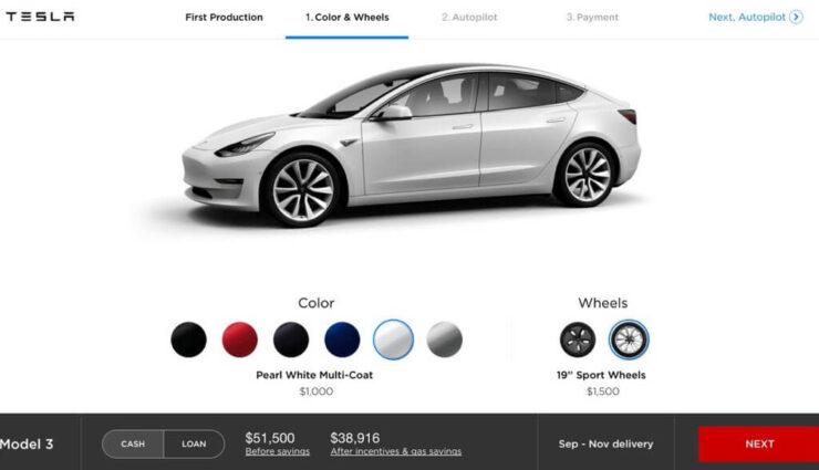 Tesla-Mitarbeiter gibt ersten Einblick auf Online-Konfigurator des Model 3