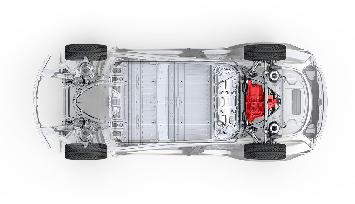 Modèle Tesla à 3 roues arrière