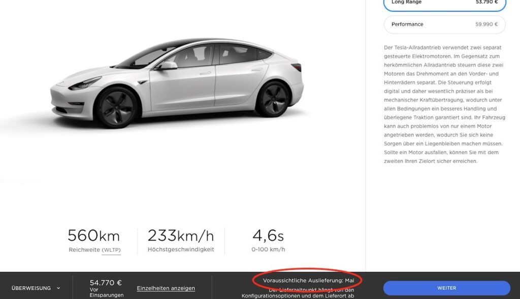tesla model 3 website liefertermin mai20