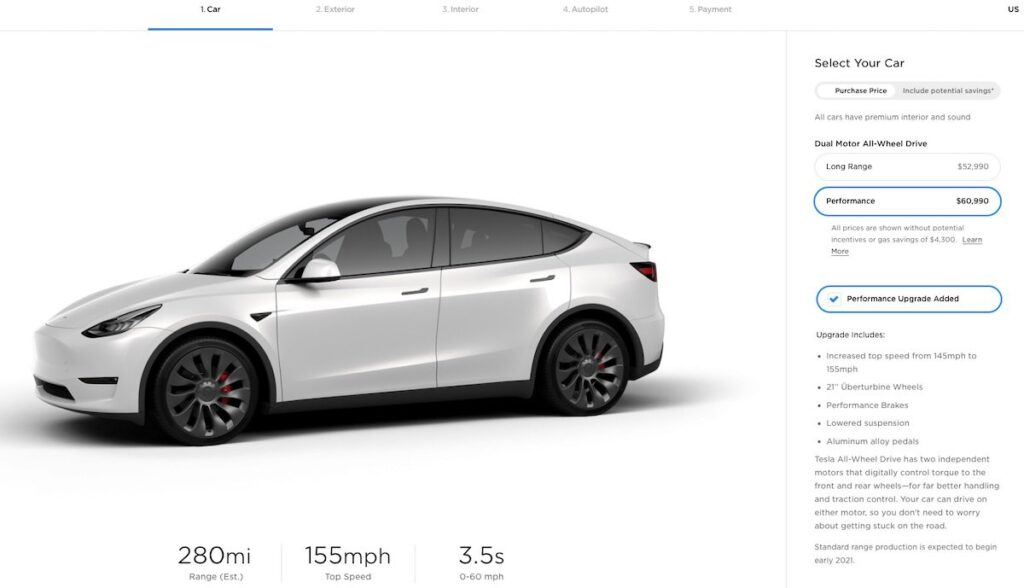 tesla model y performance konfigurator