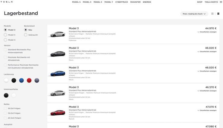 tesla website model 3 verfügbar