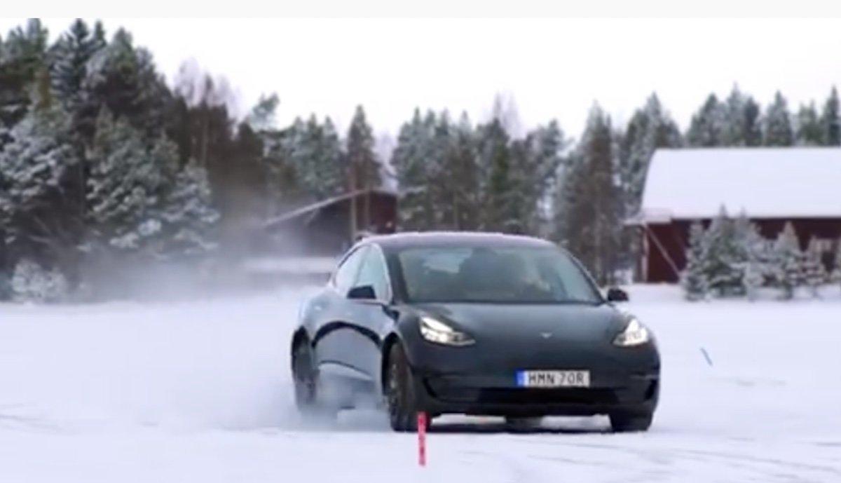 tesla model-3 wintertest