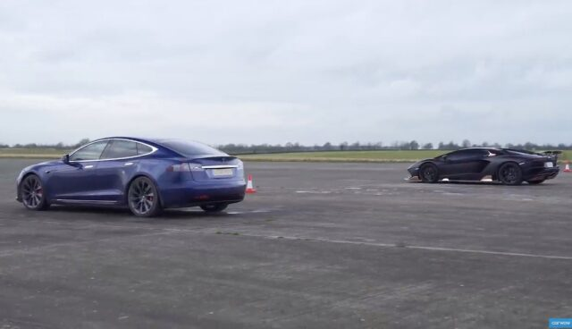 tesla model s performance raven lamborghini aventador s roadster drag