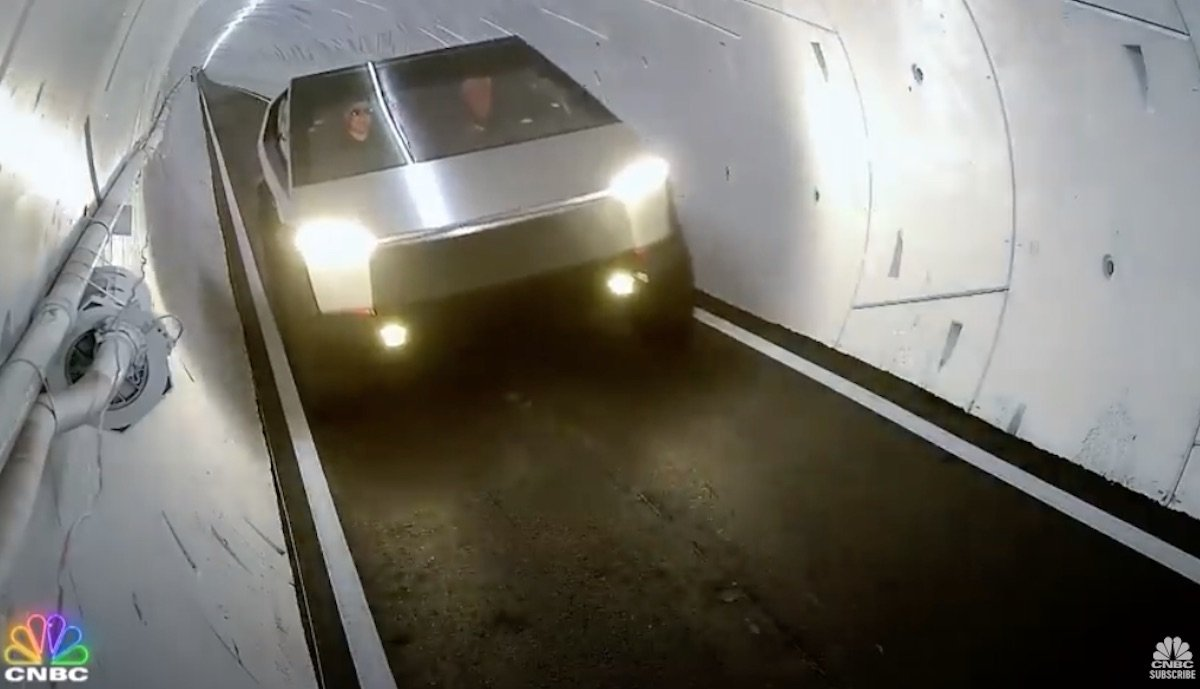 tesla cybertruck boring tunnel
