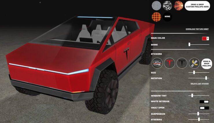 tesla cybertruck visualisierer modell rot