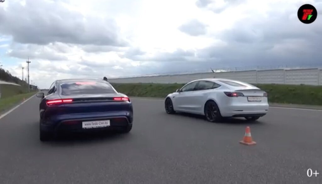 tesla mode-3 performance porsche taycan 4s drag