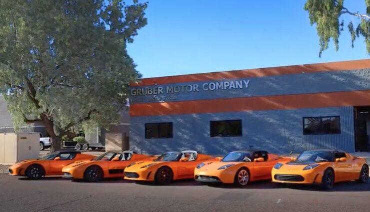 tesla roadster orange treffen gruber