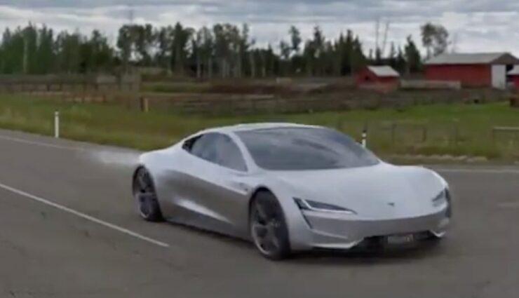 tesla roadster spacex animation start