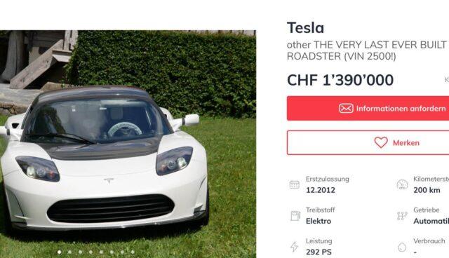 Carforyou Anzeige Tesla Roadster