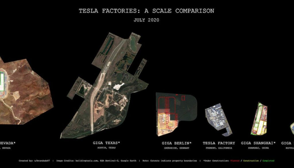 tesla gigafactorys luftbild nevada texas berlin fremont china new york