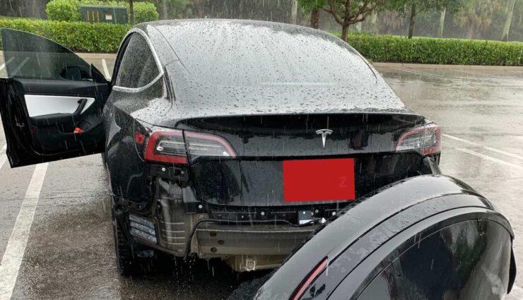 tesla model-3 regen stossstange schaden