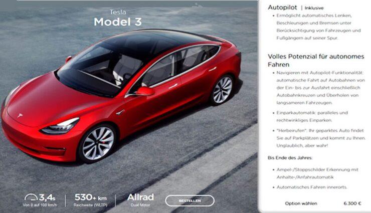 tesla model-3 website autopilot fsd