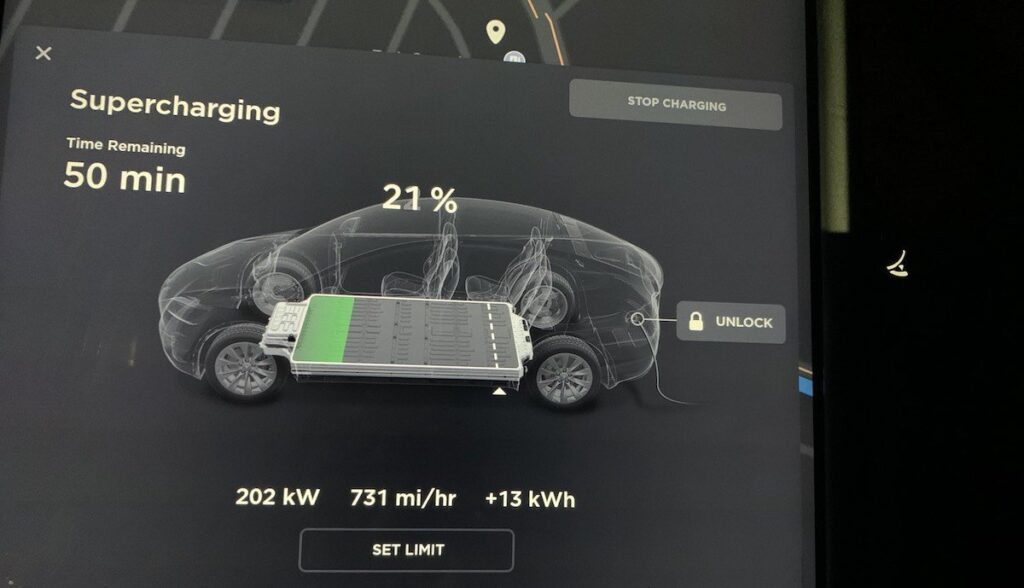 tesla model-x supercharger 202 kilowatt