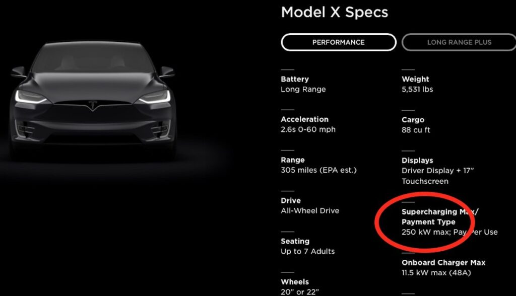 tesla model-x website usa 250 kilowatt