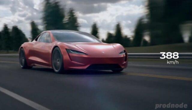 tesla roadster 3d animation 400 kmh