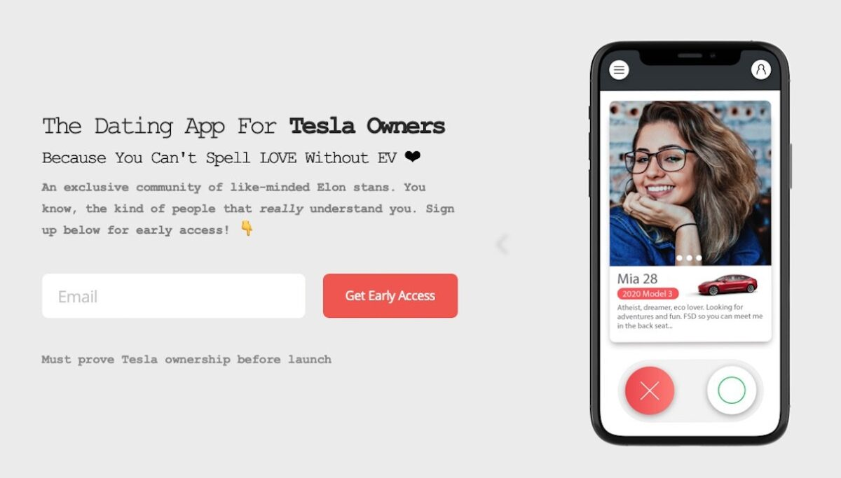 tesla dating app screenshot