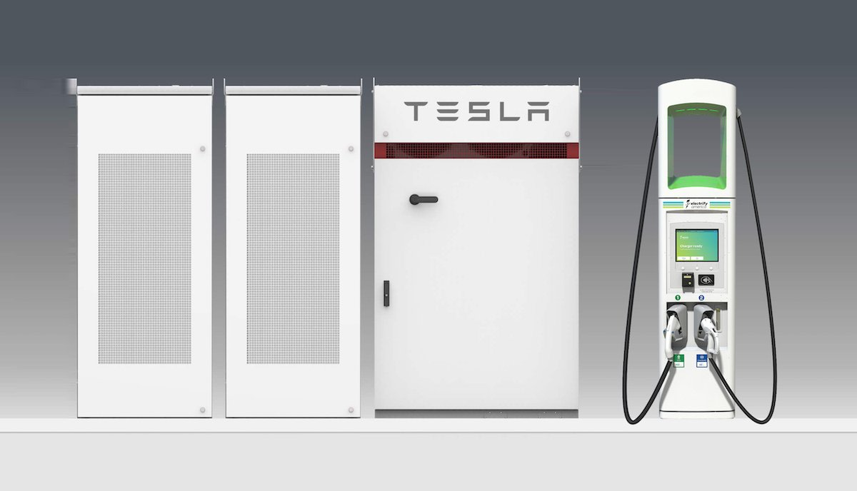 tesla powerpack electrify america ladestation