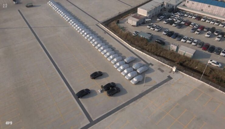 tesla mode-y gigafactory china produktion parkplatz