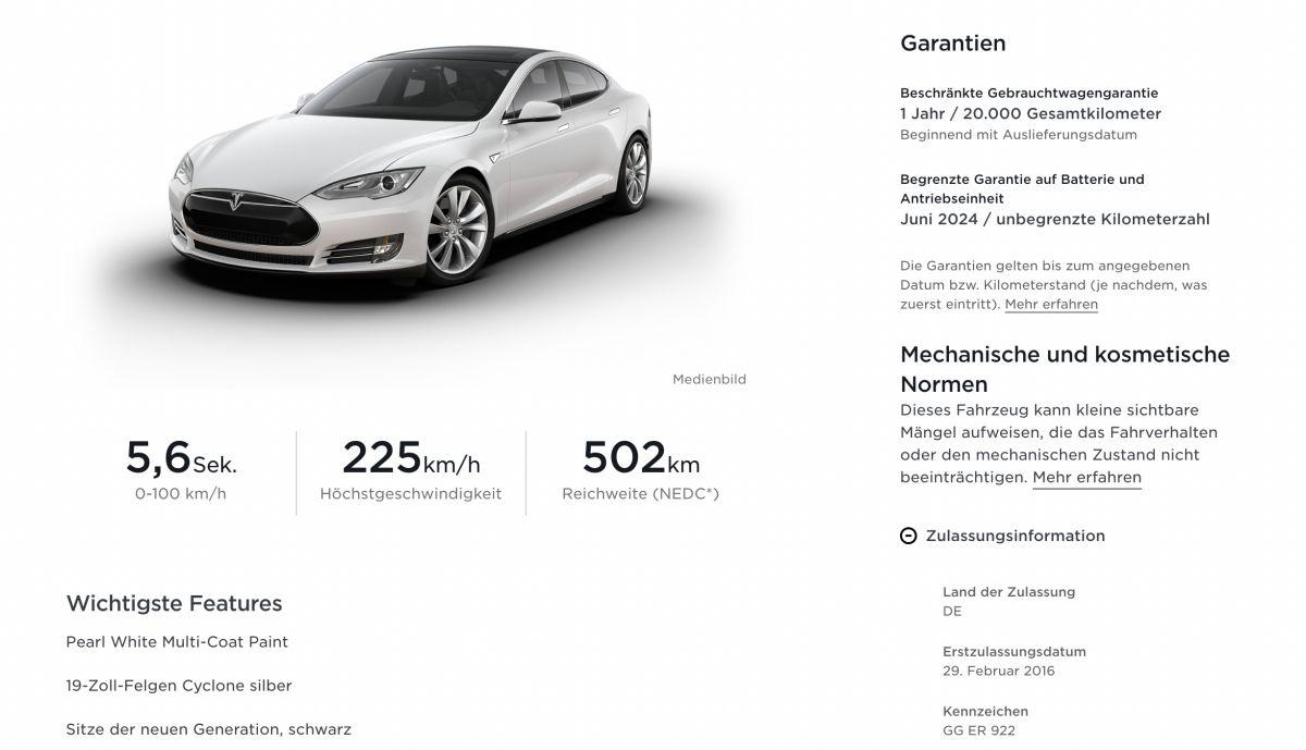 Garantie Tesla Website