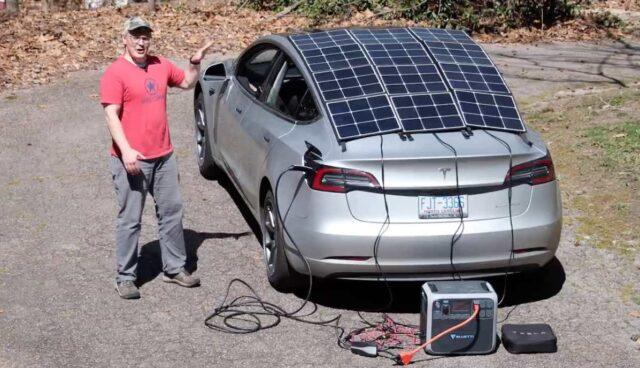 tesla model-3 solar power box aufladen test
