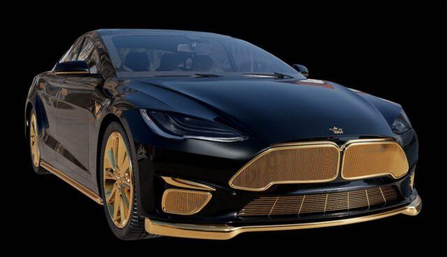 tesla model-s caviar excellence 24k gold