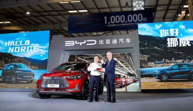 byd elektroauto tang ev million export norwegen