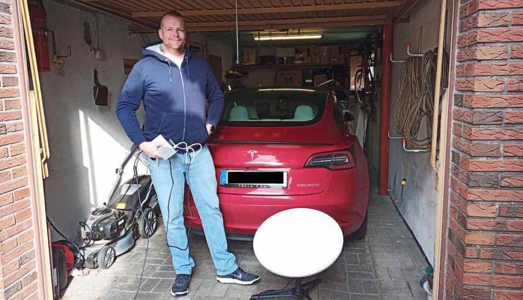 starlink deutschland kunde garage tesla model-3