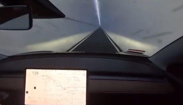 tesla boring tunnel hawthorne 128 mph