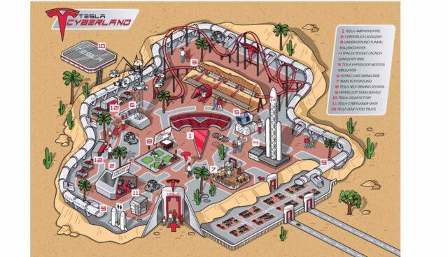 tesla freizeitpark cyberland illustration
