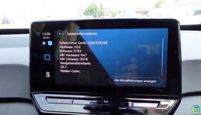 vw id.3 display software 0783