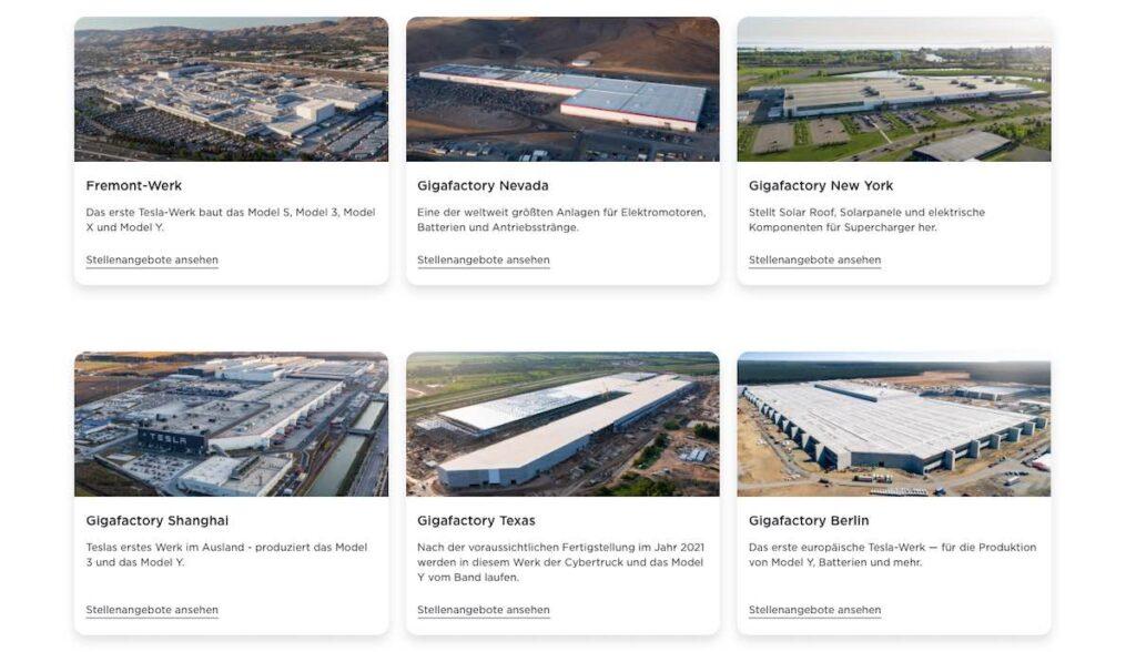 tesla fabriken uebersicht website jobs