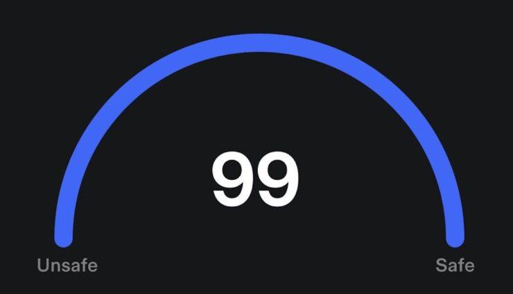 tesla safety score fsd 99 punkte