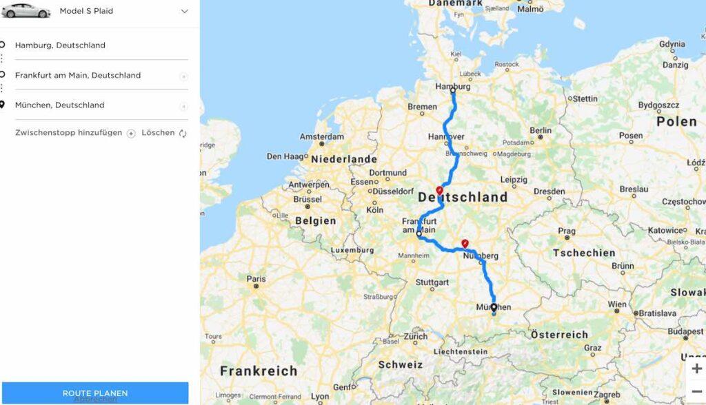 tesla website routenplaner waypoints zwischenstopps